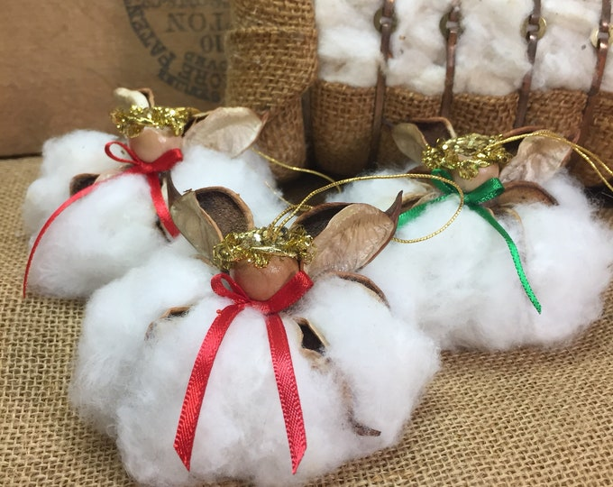 3 Cotton Angels, set (3), Christmas Satin, Southern Christmas Ornaments, Southern Nature, Natural, Rustic, Farmhouse, Southern Decor