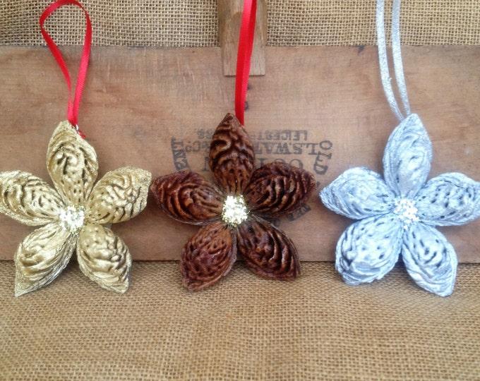 Silver Peachy Stars! 3 Christmas Ornaments, Farmhouse Ornament, Christmas Star, Handmade Ornament, Rustic Star, Christmas Exchange gift