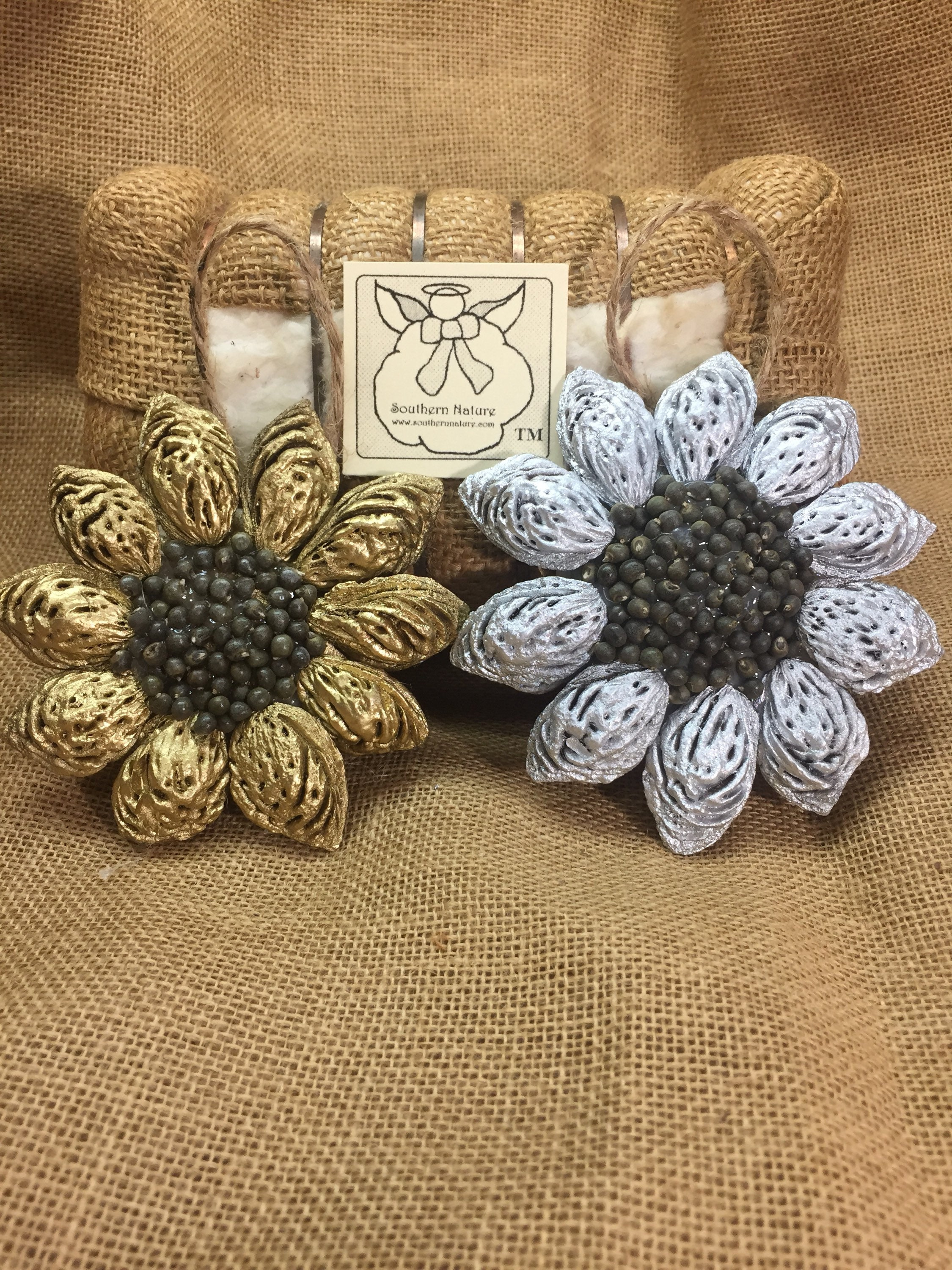 Sunflower Ornament Peach Gift Southern Nature Natural Peach Seed