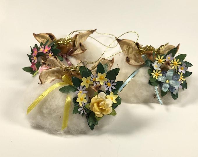 Flower Wreath Angel, Cotton Ornament, Farmhouse decor, Christmas ornament, Nature gift, Anniversary gift, wedding ornament, cotton boll