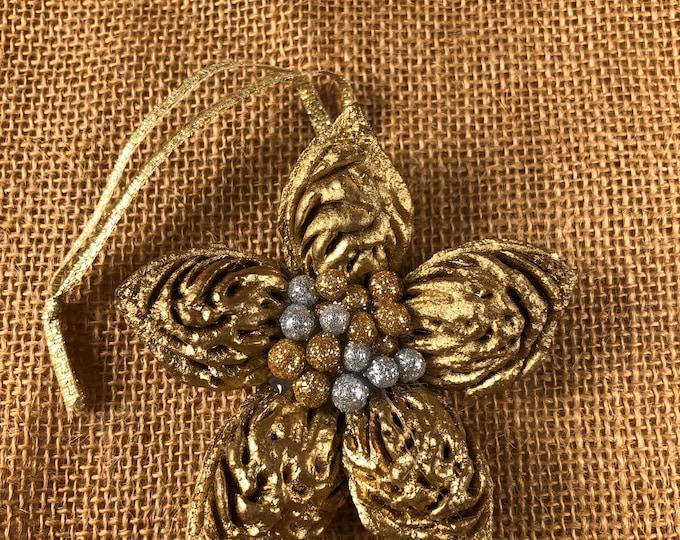 Peachy Star, (1) Gold, Silver, Christmas Ornament, Farmhouse Decor, Christmas Star, Handmade, Rustic Star, Christmas Exchange, Nature decor