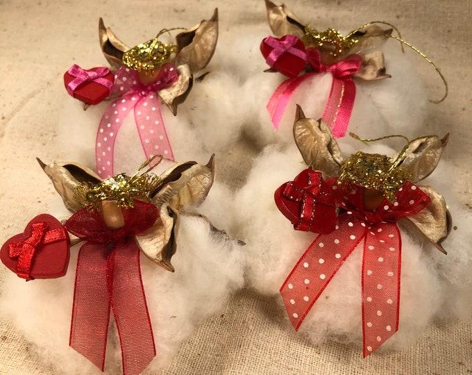 Heart Angel, Cotton Angel,  Valentine, Gift for her, Farmhouse Wedding, Rustic Decor, Cotton Anniversary, Wedding Ornament, Romantic Angel