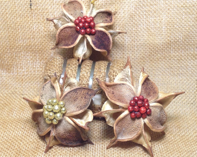 3 Starburst,  Christmas Ornaments, Southern Star Gift, Made in the South, Cotton, Southern Decor, Rustic, Farmhouse