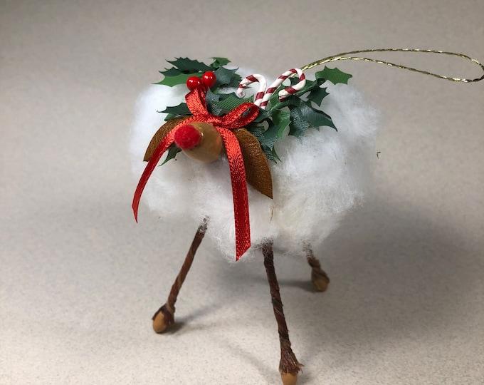 Reindeer Ornament, Cotton Boll, Dark Brown face, Christmas, Rustic Decor, Farmhouse, Cotton Ornament, Lamb, Southern Decor, Anniversary Gift