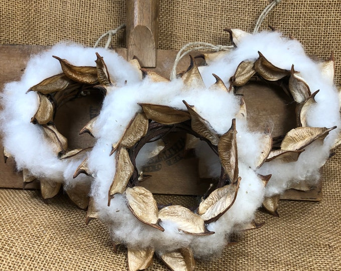 3 Cotton Burr Wreath Ornaments, Farmhouse decor, Country, Anniversary gift, Southern, Rustic Decor, Made in USA, Natural, Southern Nature