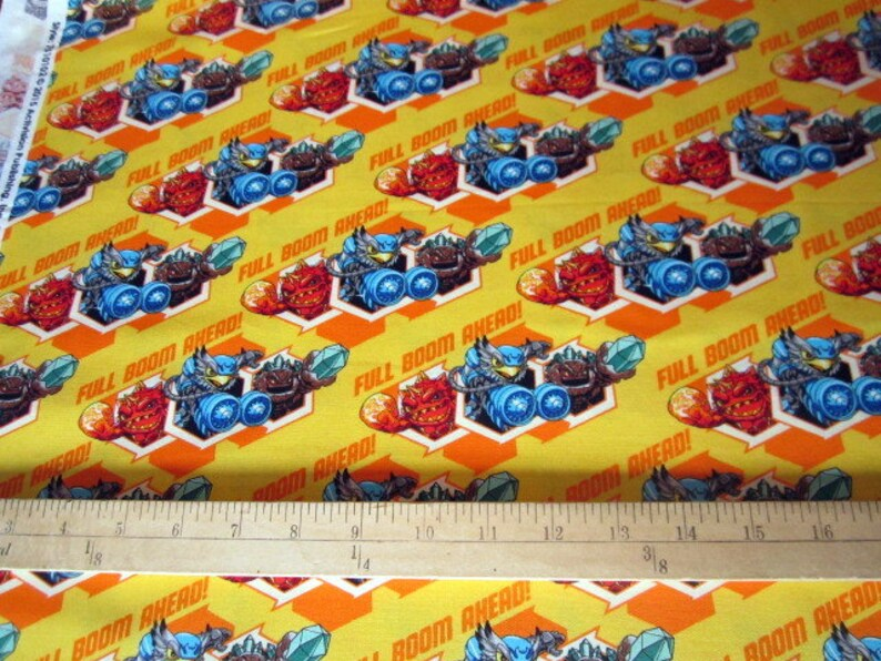 gaming, video game fabric Skylanders Characters Full Boom Ahead Sunshine premium cotton fabric from Camelot Cottons