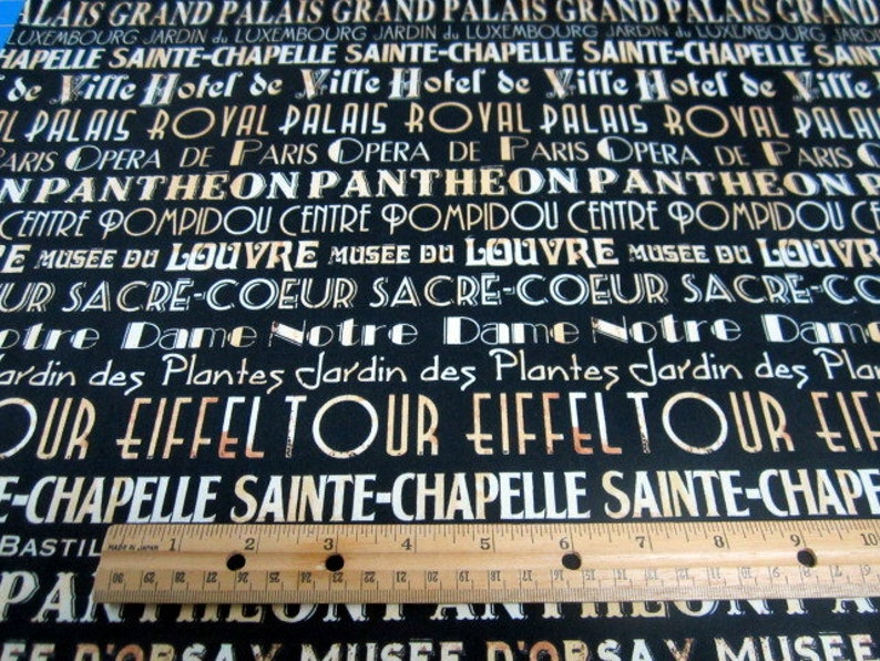 eiffel tower I Dream of Paris Words on Black premium cotton fabric by Windham end of bolt 1.25 yard piece french country crafting,