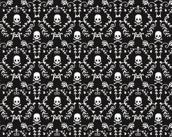 Black and White Skull Damask from the Skulls and Roses collection by David Textiles - skulls, tattoo, roses