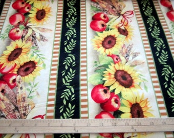 Sunshine Orchard Sunflower Stripe premium cotton fabric from Wilmington Prints - end of bolt 1 yd 5 in piece