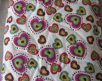 Nook Tablet Kindle Fire Nook color travel sleeve Creme with Multicolored hearts