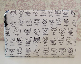 Cat Expressions Cotton Zipper Pouch // Organizer Pouch, Cat Gift