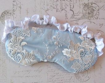 Bridal Sleep Mask in Blue, White // Lace & Satin Eye Mask