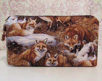 Foxes in Snow Cotton Zipper Pouch // Organizer, Pencil Pouch