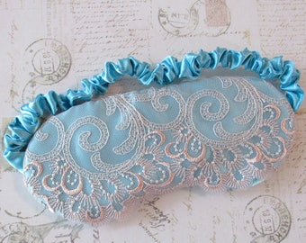 Pastel Lingerie Sleep Mask in Aqua, Peach // Lace & Satin Eye Mask