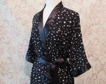 37f11981c6 Stars in Your Eyes Dressing Robe in Black    Crepe   Satin Robe