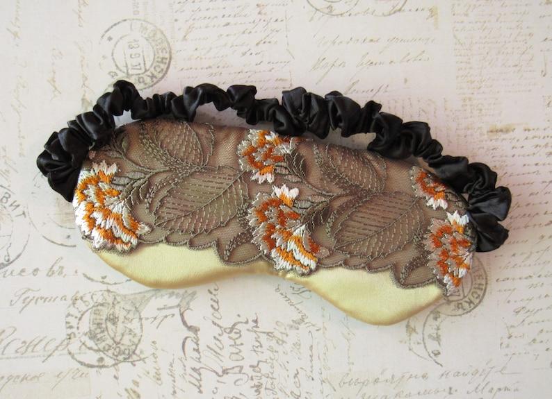 3158c58421ffe Golden Chrysanthemum Sleep Mask    Embroidered Lace   Satin