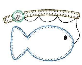 Fishing Pole Fish Blanket Stitch Applique Embroidery Design 5x7 6x10 8x8 8x12