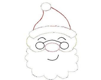 5a72d25deb6 Santa Glasses Bean Stitch Applique Embroidery Design 5x7 6x10 8x8 8x12