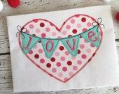 Heart Banner Valentine Zig Zag Stitch Applique Embroidery Design 5x7 6x10 8x8 8x12