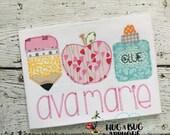Pencil Apple Glue Trio Bean Stitch Applique Embroidery Design 5x7 6x10 8x8 8x12