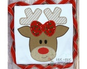 Reindeer Girl Rudolph Christmas Zig Zag Stitch Applique Design 5x7 6x10 8x8 8x12 9x9