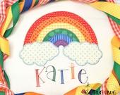 Rainbow Zig Zag Stitch Applique Design 5x7 6x10 8x8 9x9 8x12