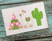 Llamas Tee Pee Cactus Bean Applique Embroidery Design 5x7 6x10 8x8 8x12