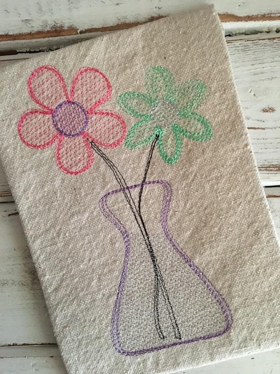 Flowers Spring Flower Vase Sketch Embroidery Design 5x7 6x10 Etsy