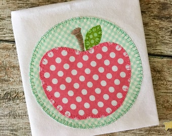 Apple Circle Blanket Stitch Applique Embroidery Design 5x7 6x10 8x8