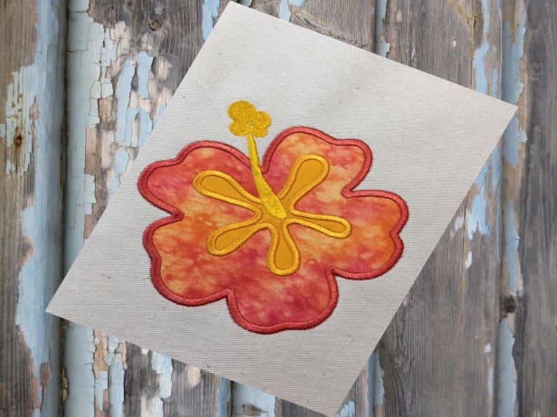 Hibiscus flower hawaiian applique embroidery design etsy
