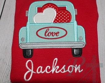 Vintage Truck Hearts Valentine's Day Love Applique Embroidery Design 5x7 6x10