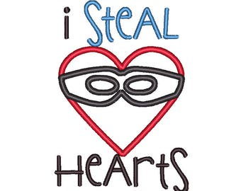 Steal Hearts Valentine Heart Mask Applique Embroidery Design 5x7 6x10 8x8 8x12