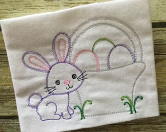 Easter Basket Bunny Rabbit Eggs Bean Stitch Sketch Applique Embroidery Design 5x7 6x10 8x12