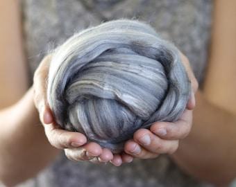 Merino Wool/Silk Blend Roving in Steam Grey, Needle Felting, Wet Felting, Gray, Nuno Felting, Weaving, Arm Knitting, Chunky Yarn, DHG
