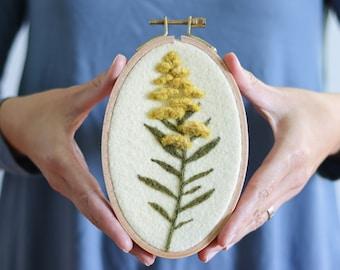 Needle Felting Kit - Goldenrod Wall Hanging - Beginner Craft Kit - Fall Flowers - Wool Painting