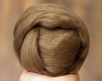 Merino Wool Roving in Oak Brown, Combed Tops, Needle Felting, Wet Felting, Nuno Felting, Weaving, Arm Knitting
