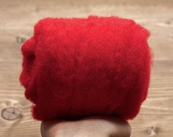 Needle Felting Wool Batting, Classic Red, Batts, Wet Felting, Spinning, Dyed Felting Wool, Holly Red, Christmas Red, Fiber Art Supplies