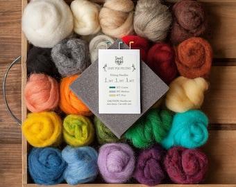 Needle Felting Kit - Craft Kit - Beginner - DIY Kit - Christmas Gift - Starter - Wool Batting - Wool Roving - Learn to Felt - Creative
