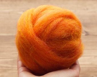 Needle Felting Wool Roving, Pumpkin, Orange, Wet Felting, Weaving, Heather Orange, Spinning, Craft Supplies, Fiber Arts, Supplies