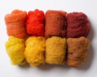 Needle Felting Wool Batting Assortment, Fiber Sampler, Autumn Foliage, Fall, Red, Orange, Yellow, Crafting, Wet Felting, Spinning, Supplies