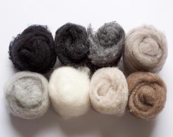 Needle Felting Wool Assortment, Fiber Sampler, Batting, Neutrals, Black, White, Gray, Brown, Beige, Wet Felting, Spinning, Supplies