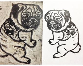 "Custom Pet Portrait Stamp 2"" x 3"" Hand Carved Linoleum"