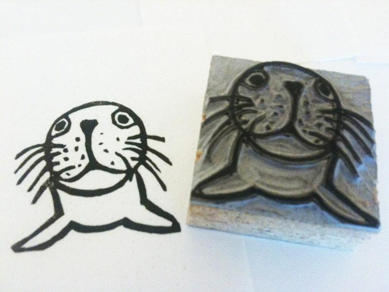 Seal stamp hand carved linoleum block 2 x 2 etsy