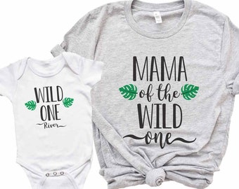 Wild One Birthday Shirt Set - Mommy and Me Matching Mama of the Wild One Palm Leaves and Wild One Boy Girl Matching Family Shirts (Set of 2)