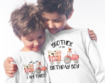 Red Tractor Birthday, Oink Baa Moo Im Two, Matching Family Birthday Shirts, Mommy of the Birthday Boy, Daddy of the Birthday Girl