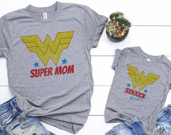 Super Mom & Sidekick, Mommy and Me Superhero T-Shirts, Baby Girl, Mothers Day, New Mom and Daughter Gift, this listing is not sold as a set