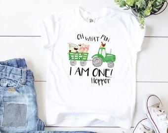 Personalized Green Tractor for First Birthday, Oh What Fun I Am One, Boys Farm 1st Birthday Shirt, Birthday Boy Gifts, Baseball Shirt