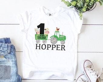 Personalized Green Tractor for First Birthday, Boys Farm 1st Birthday Shirt, Birthday Boy Gifts, Little Farmer, Baseball Shirt, Long Sleeves