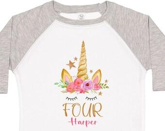 Unicorn Birthday Shirt, Unicorn Dress, Cake Smash Birthday Outfit, Girls 4th Birthday, Personalized Unicorn Shirt, Gift for Birthday Girl