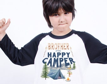 Happy Camper Shirt, Camping Birthday, Brother Birthday, Camping Theme, Lumberjack Party, One Happy Camper, Wild One Birthday, Camping Party